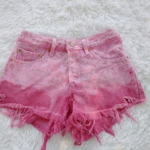 Levi's 501 pink tie dye distressed button fly 26